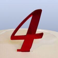 numéro 4 Manuscrit Rouge Acrylique Miroir Topper gâteau (approximativement