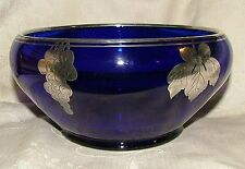 1920s Beautiful Vintage TIFFIN Cobalt Blue BOWL Silver Overlay Grapes Leaves