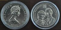 GIBRALTAR - RARE 1 CROWN UNC COIN 1981 CHARLES AND DIANA WEDDING