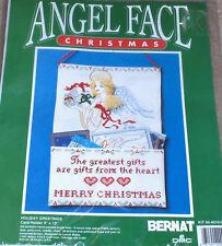 "1991 Christmas Cross Stitch Card Holder Kit w/ Handpainted Angel Face NIP 9x13"""