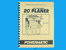"Powermatic Model 208   20""  Planer Operating Instruction & Parts Manual *287"