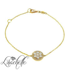 1 ct Chain Bracelet Round Cut Halo 14 Yellow Gold