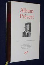 Album LA PLEIADE Jacques Prévert 1992 TBE