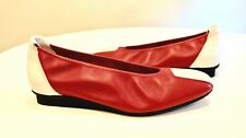 $395 NIB ARCHE MATCHA 39 Feu/blanc RED WHITE LEATHER  WEDGE comfort BALLET flat