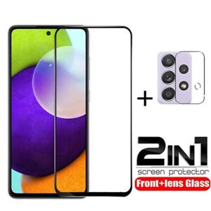 For Samsung A72 A52s A22 A32 5G Full Cover Tempered Glass +Camera Lens Protector