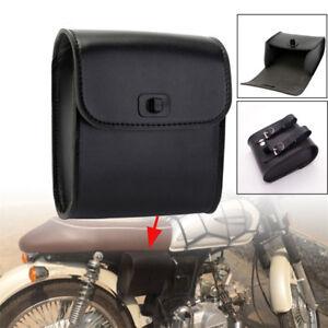 Black Synthetic Leather Universal Motorcycle Bikes Handlebar Luggage Saddle Bag