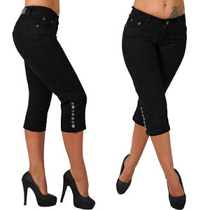 3/4 Niedrige Capri Damen Jeans Hose Glitzer Zier Knöpfe Hüfthose Nieten Bein 590
