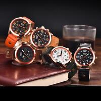 Luxury Men's Military Leather Band Stainless Steel Quartz Sport Dial Wrist Watch