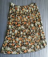 Pimkie Women's Black Pleated Floral Skirt Size EU 36 FR 38 New With Tags