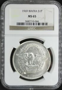 BIAFRA 1969  ONE POUND NGC MS 65