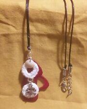 Collar Hecho A Mano Crochet con piedra y cordón de cuero