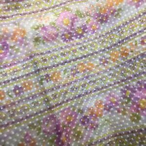Vintage Flocked Floral Fabric Dotted Swiss Lavender Purple Floral Stripe 2yds