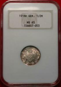 1918-D Germany 1/2 Mark Silver Foreign Coin NGC Graded MS 65