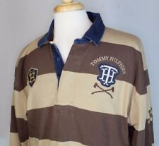 Vintage Tommy Hilfiger Brown Striped Long Sleeve Rugby Polo Shirt Mens XL