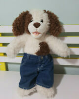 DOG BUILD A BEAR WHITE WITH BROWN EARS PANTS ON TOO! 45CM!