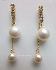 7mm/10mm White Natural Freshwater Pearl Gold Tone 925 Sterling Silver Earrings