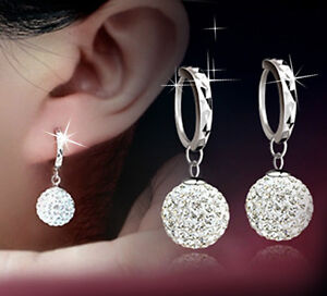 Pair of 12mm Shamballa Sterling Silver 925 Cubic Zirconial Sleeper Earrings UK