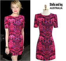 Womens Party Cocktail Dress Shift Vibrant Pink Size 8 NEW