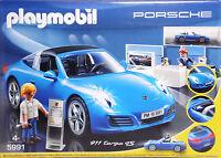 Playmobil 5991 Porsche Targa blau mit Lichteffekten Verkaufsraum 2 Figuren NEU