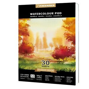 Watercolour Paper Pad A5 *30 Sheets 300GSM for Watercolour Painting PENCILMARCH