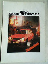 Simca 1000/1100 GLS Specials brochure May 1978