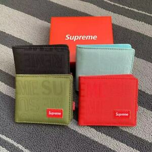 Brand New Red & Black&Blue&Army Green Men Supreme Wallet 【US 】