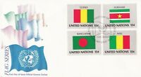 UN142) United Nations 1980 MIX Set (16) 15c Stamp - Flag Series FDC. Price: $20