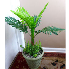 """28"""" Artificial Silk Tree Palm Plant With 3 Bushes Grasses (6 Leaves)"""