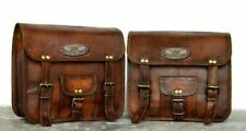 Motorcycle Side Pouch Brown Leather Pouch Saddlebags Saddle Panniers 2 Bags