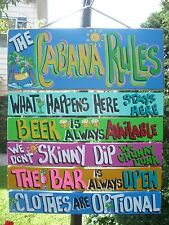 POOL RULES TROPICAL HOUSE BEACH CABANA HAND MADE PERSONALIZED SIGN  PLAQUE