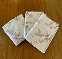 Vtg SEARS Twin Sheet Lot (2) Flat & (1) Fitted Pink TWILIGHT ROSE Floral Percale