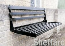 2 Seater Space Saving - Wall Mounted Foldable Metal Garden Seat / Bench / Chair