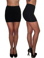Womens Mini High Waist Stretch Black Skirt Elasticated Size 6 8 10 12 14 16 18