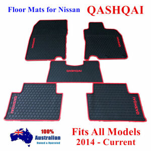 Red Waterproof Rubber Floor Mats for Nissan QASHQAI 06/2014 - 2020 Current