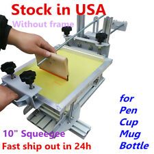 USA Manual Cylinder Screen Printing Machine for Pen Cup Mug Bottle, 10