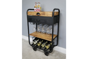 Industrial Drinks Trolley Rustic Metal Mini Bar Wine Cabinet Glass Bottle Holder