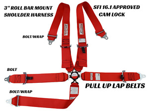 "RACERDIRECT 5 POINT 3"" SAFETY HARNESS SFI 16.1 CAM LOCK PULL UP LAP BETS  RED"