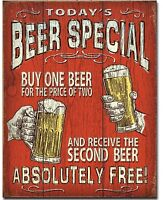 New Beer Special Metal Tin Sign Buy One Get One Free Garage Home Wall Decor