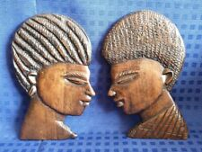 2 x Beautiful African Wooden Carved Wall Plaques Folk Art Male Female Man Woman