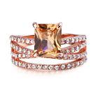Fashion Luxury Rings Women Emerald Cut Blue Sapphire Wedding Ring Jewelry Gift