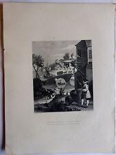 """William Hogarth """"quien hace Diseño Sin..."""" Grabado original1850 impresión"""