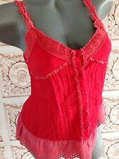 GRIFFLIN PARIS Red Boho Peasant tank top Lace Eyelet Size S Small Blouse