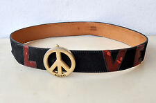 """LOVE MOSCHINO Rare Vintage Buckled Suede/Leather Belt Made in Italy Sz 2 30-21""""W"""