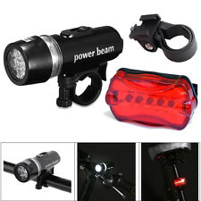 Waterproof 5 LED Lamp Bike Bicycle Front Head Light+Rear Safety Flashlight Set