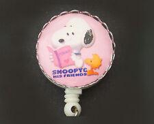 SNOOPY WOODSTOCK Peanuts Retractable ID Badge Reel/Key Card Holder/ pink