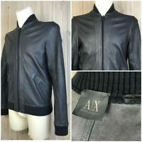 A/X Armani Exchange Reversible Leather Jacket Suede Size Small Zip Graphite