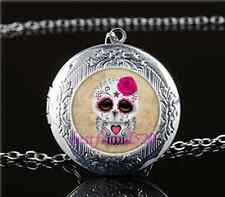 Sugar Skull Owl Photo Glass Tibet Silver Chain Locket Pendant Necklace