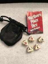 Vintage Marlboro Poker Dice Set Complete with Instructions, Storage Bag
