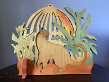 Thailand Wooden Decorative Puzzle with Siamese Cat, Bird, Bird Cage, and Plants