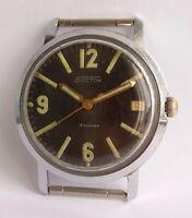 Vintage Soviet Watch VOSTOK 18 jewels Date Mechanical USSR Black Dial Military